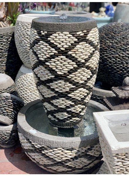 Pebble Tall Jar Fountain Small X Pattern