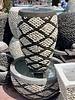 Pebble Tall Jar Fountain Small No Light X Pattern