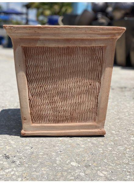 Terracotta Scraped Square Planter SM