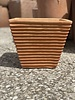 Terracotta Low Tapered Cube with Lines Medium
