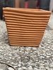 Terracotta Low Tapered Cube with Lines Large