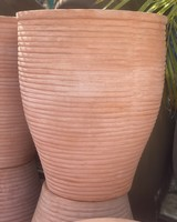 Terracotta Tall Round Tapered Planter with Lines Large