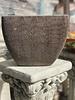 Terracotta Round Square Swirl Scraped Planter Small C