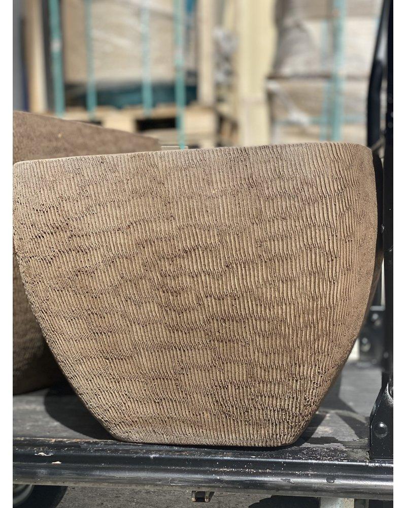 Terracotta Round Square Swirl Scraped Planter Medium C
