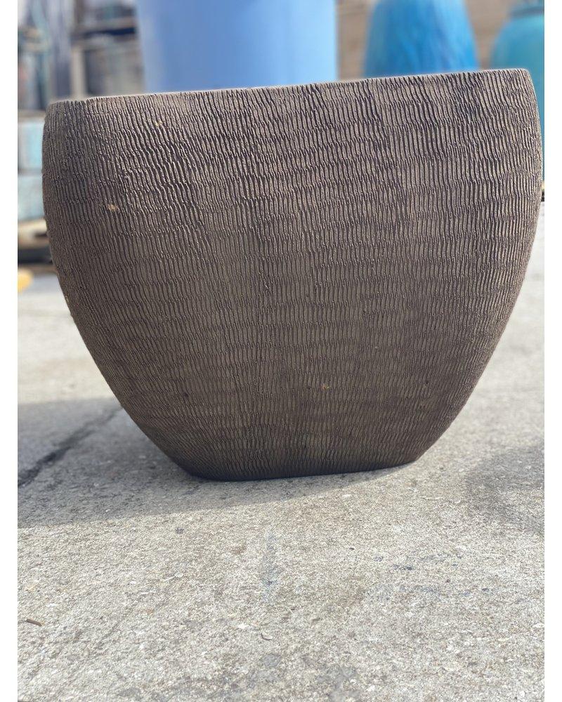 Terracotta Round Square Swirl Scraped Planter Large C