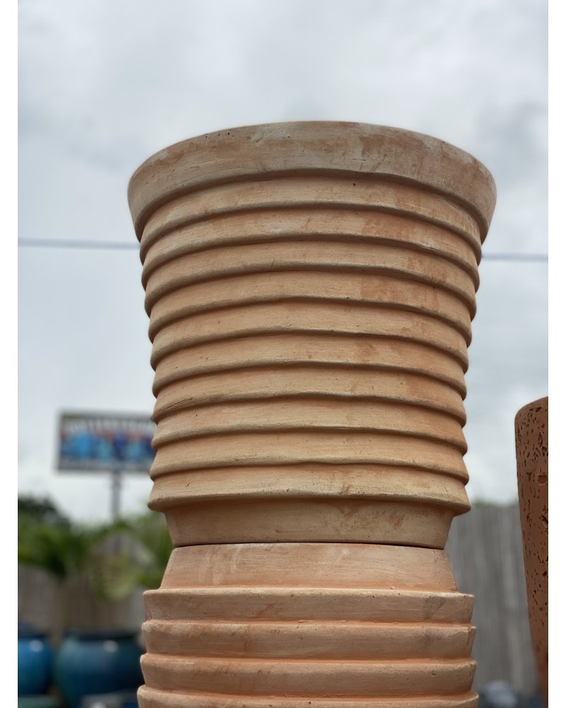 Terracotta Cylinder Planter with Thick Lines Large