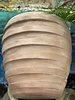 Terracotta Tall Egg with Thick Lines Large
