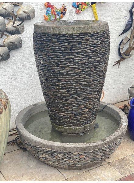 Natural Pebble Tall Jar Fountain Lage N