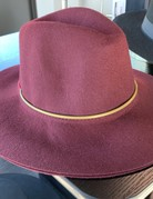 Burgundy Fedora Hat -Wool