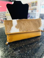 P Sherrod Purse Detachable Strap Mustard Cow Hair