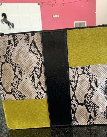 P. Sherrod Sudi Clutch Yellow/Black/Snake