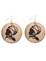 Wooden Head wrap earrings