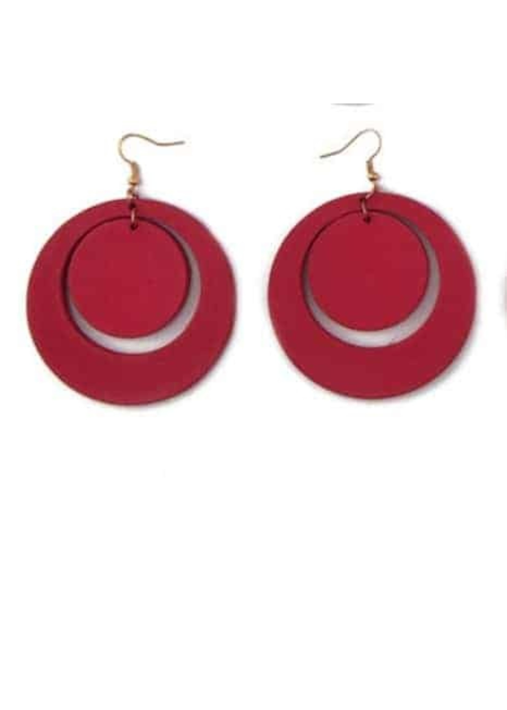 Earrings 2 Circles-Gold Plated (RED)