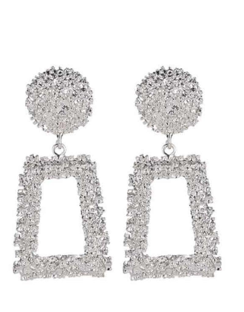 Trapezoid Metal Earrings-Silver
