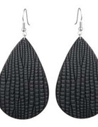 Faux Leather-Earring-Tear Drop Shape Zinc Alloy