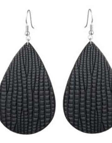Faux Leather-Earring-Tear Drop Shape Zinc Alloy