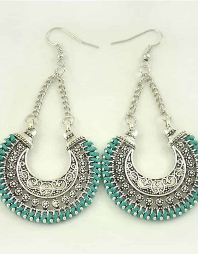 Metal Hollow Carved -Green Earring