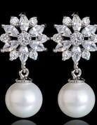 Copper Sun Flower CZ Zircon shell Pearl Earrings