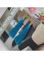 free wholesale Long Fib Tassel Earring g Sky turquoise
