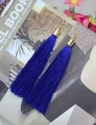 free wholesale Long Fib Tassel Earring Navy Blue