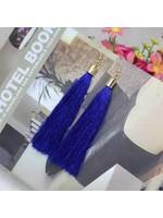 free wholesale Long Fib Tassel Earring Navy Blue