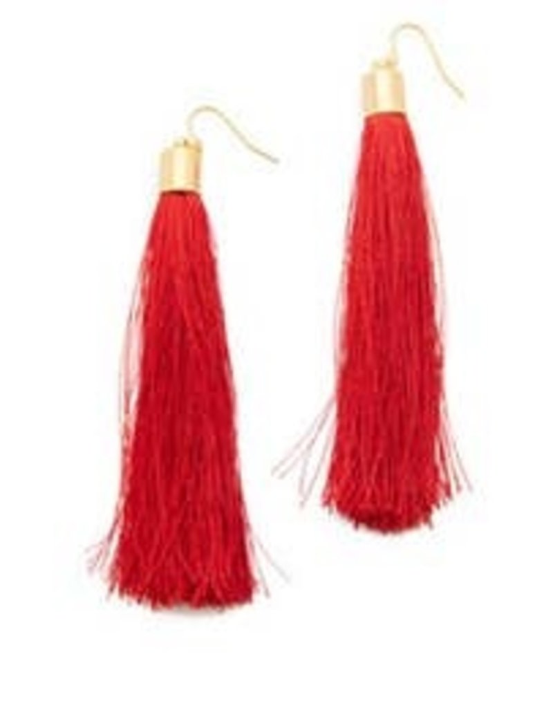 free wholesale Long Fib Tassel Earring Red