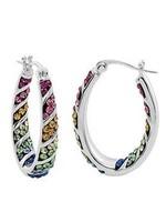 free wholesale Rainbow Hoop Crystal Earrings