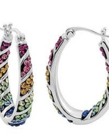 free wholesale Rainbow Hoop Crystal Earrings