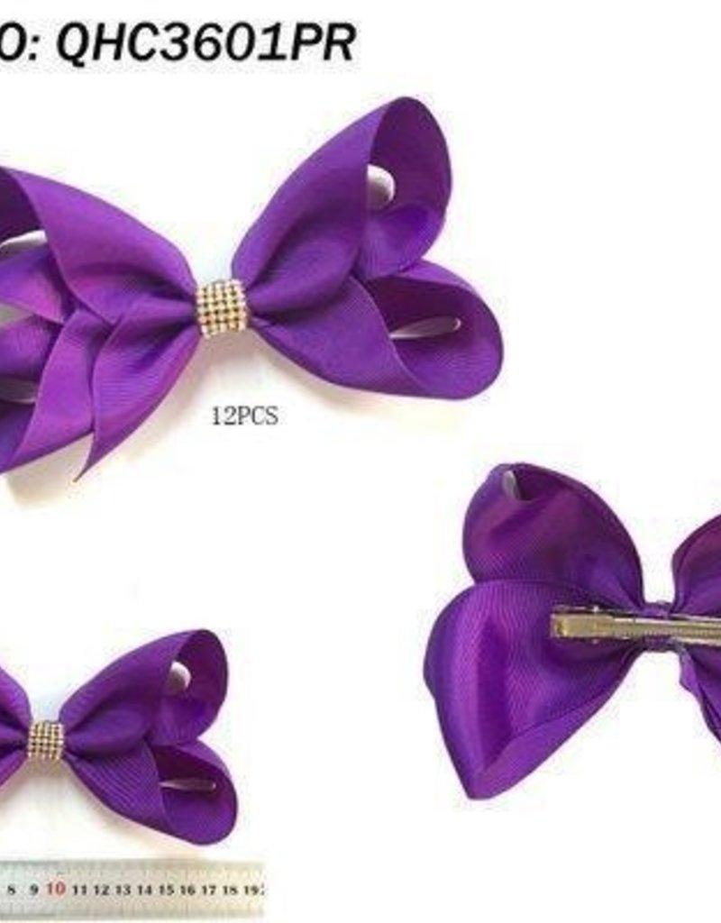 Rhinestone Large Purple Hair Bow