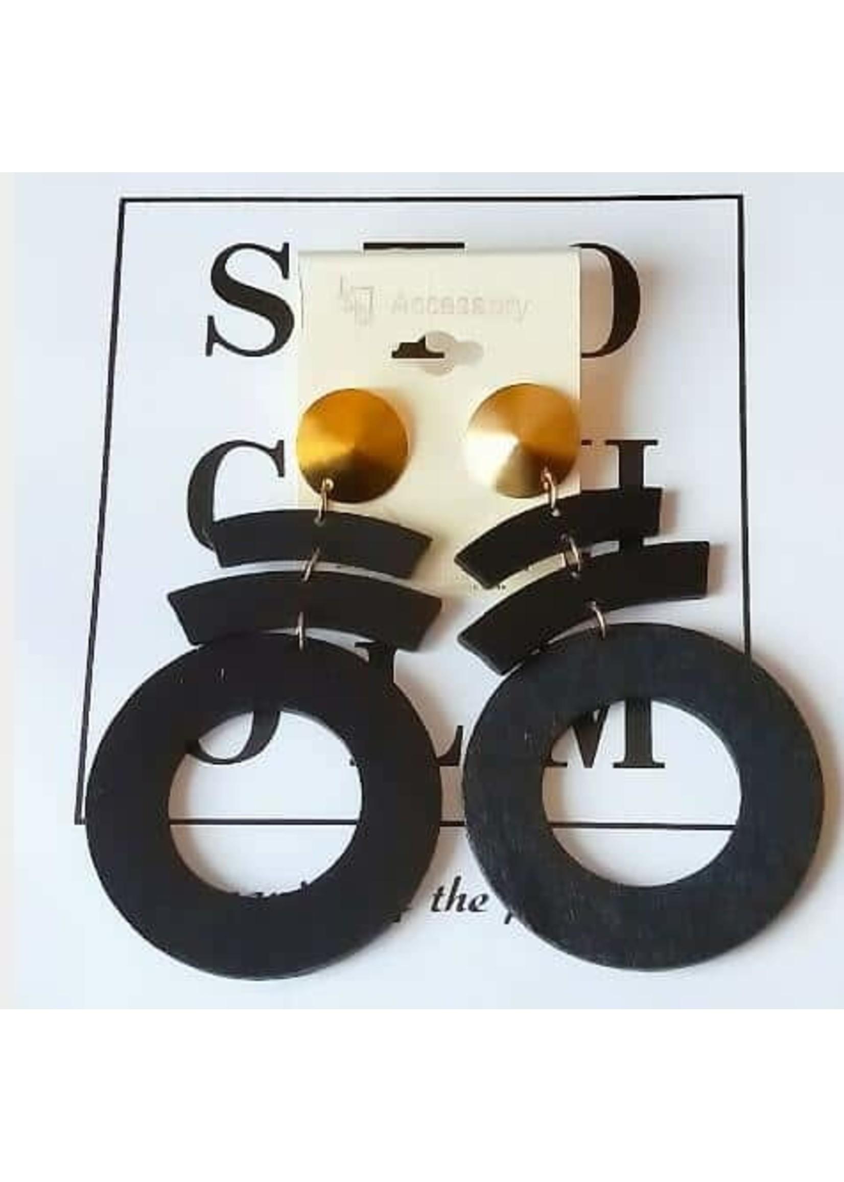 black 3 tier earrings