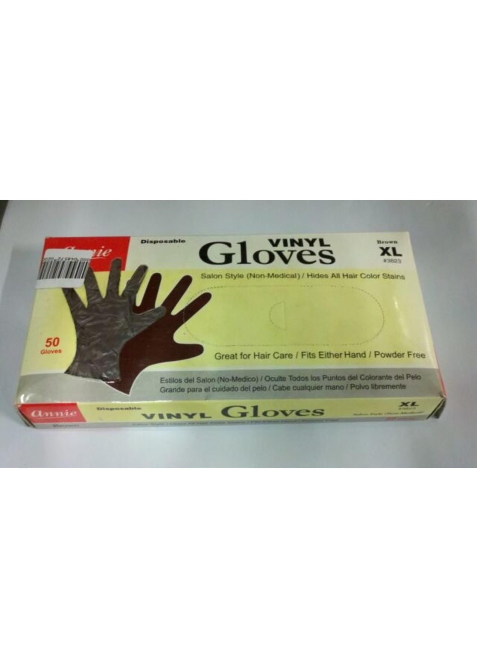 Annie Pwder Free Brown Vinyl Gloves  50pcs
