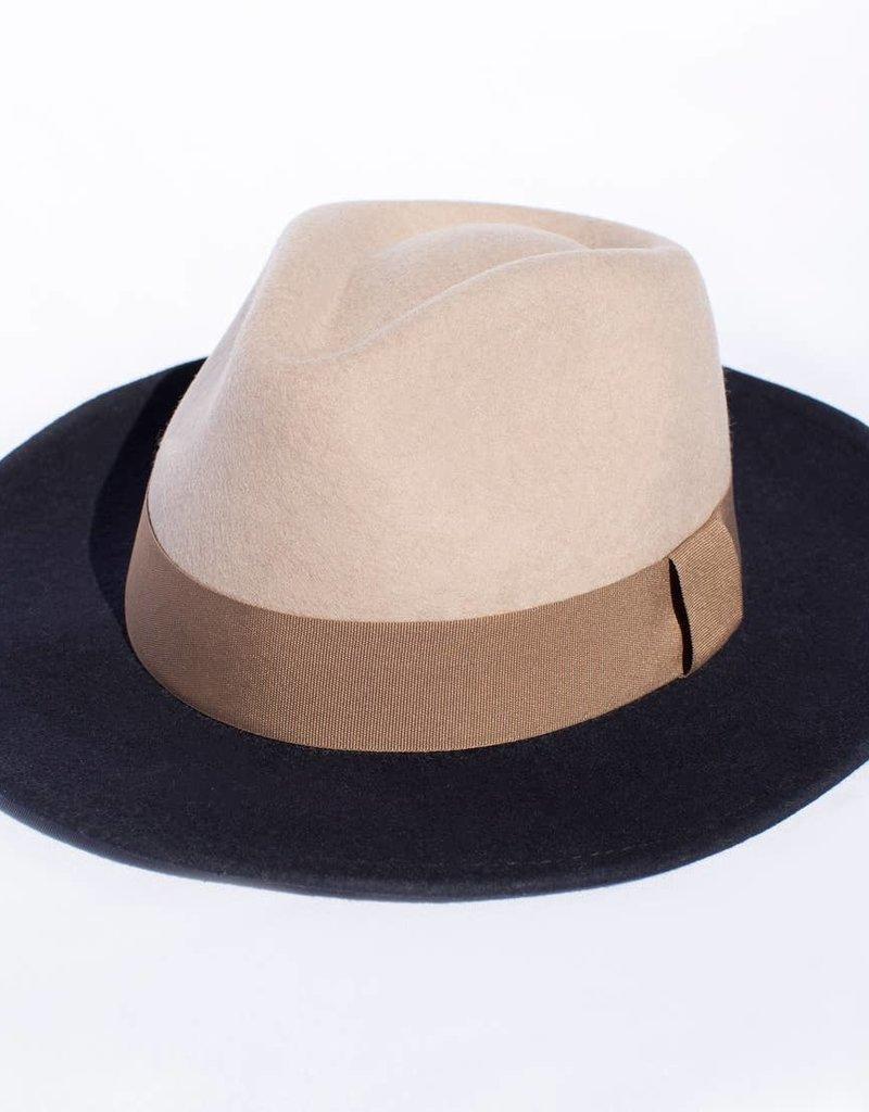 Tropicana Beige & Blue Retro Felt Hat