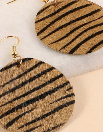 Zebra Print Calf Round Earrings