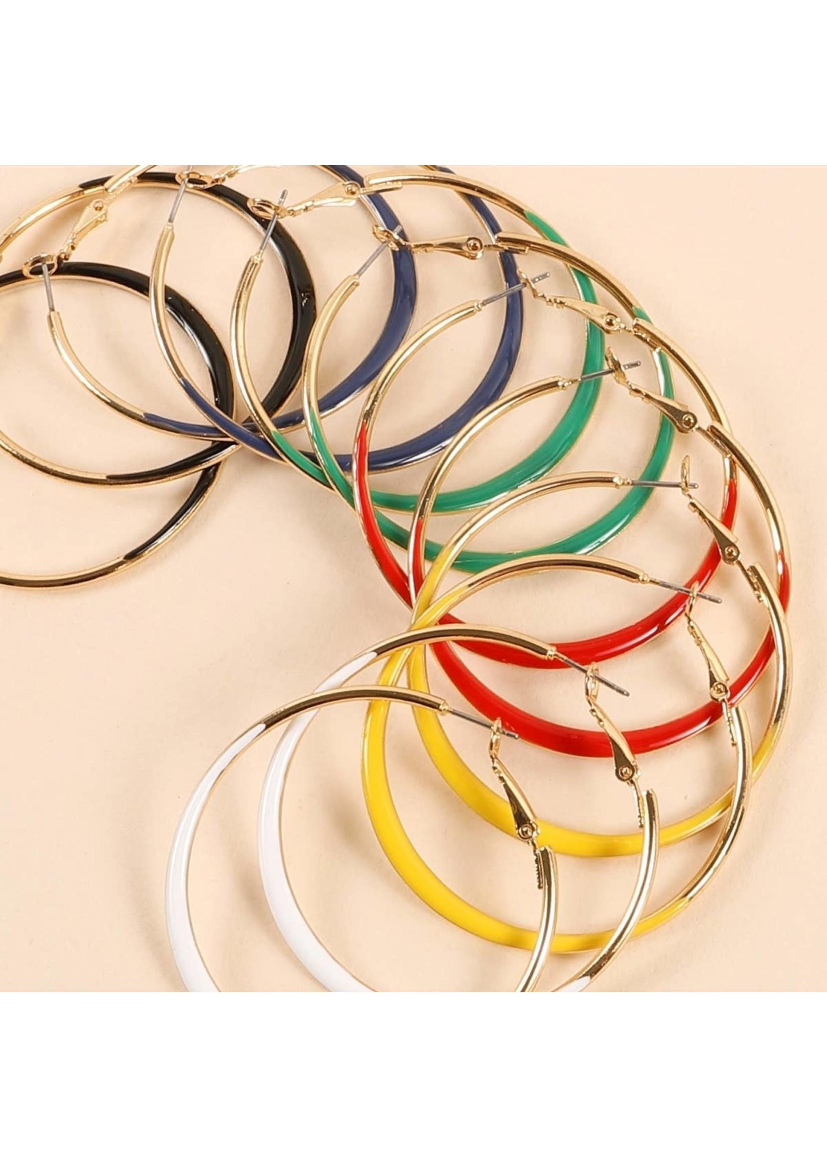 Enamel Round Hoop Earrings