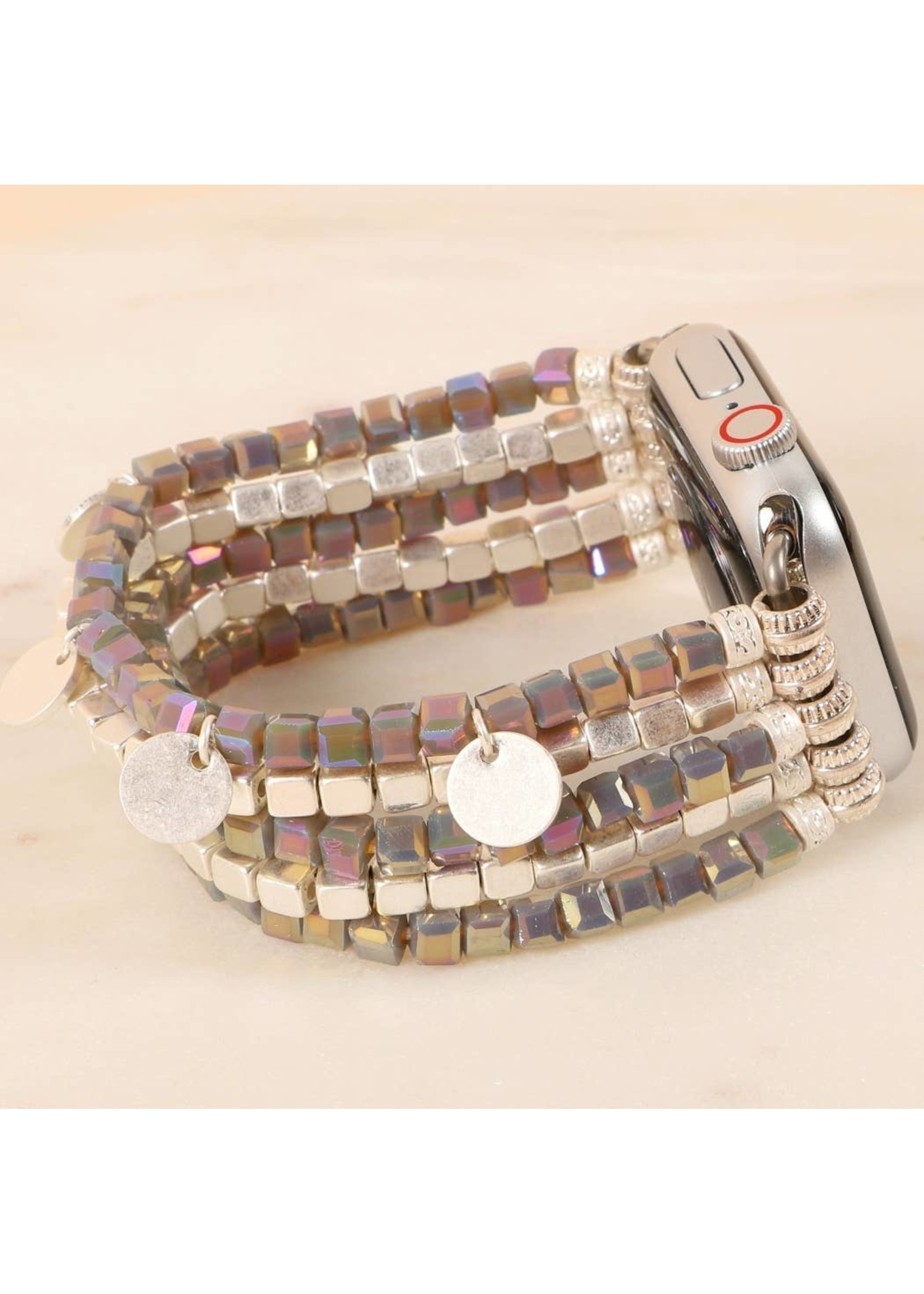 Glass Metal Beads Watch