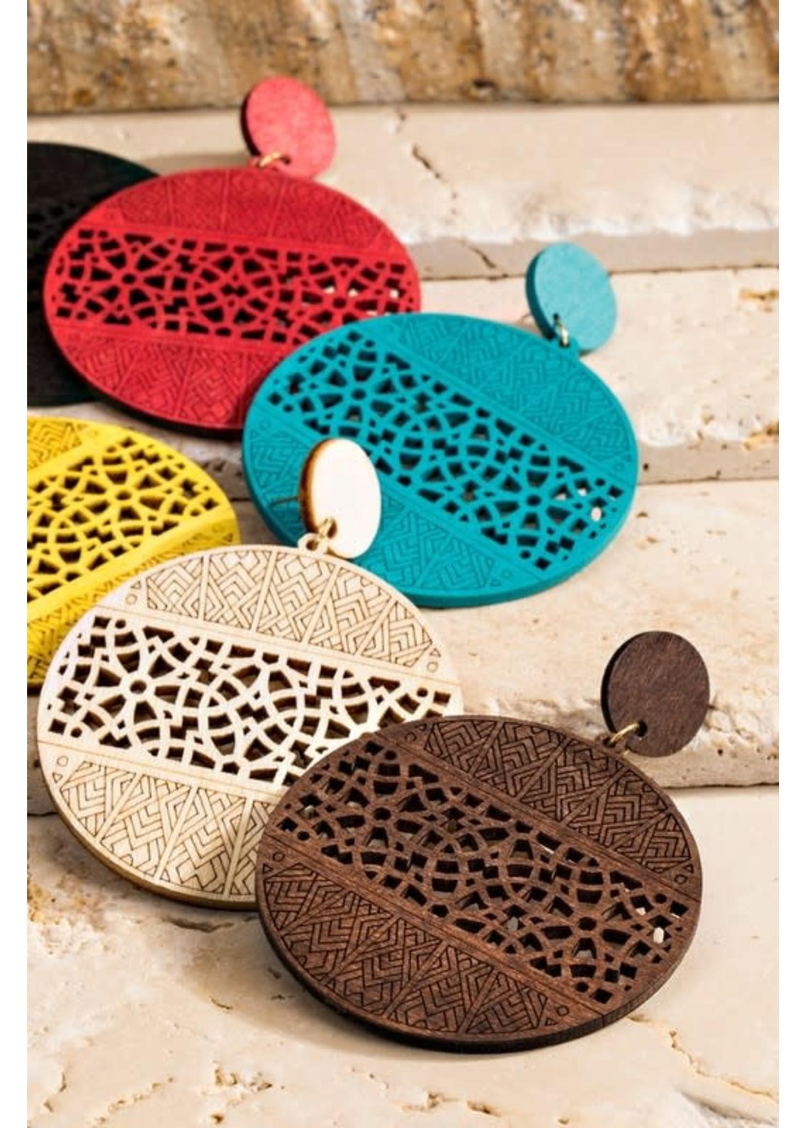 urbanista Filigree Laser Cut Wood Earrings-Turquoise