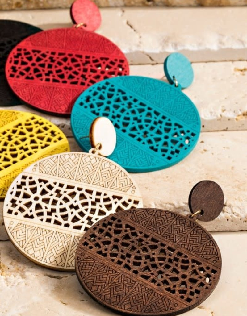 urbanista Filigree Laser Cut Wood Earrings-Turquoise