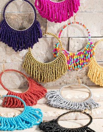 urbanista Seed bead tassel with metal ring dangle Earrings