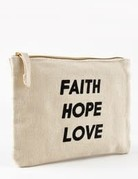 """Faith Hope Love"" make up bag"