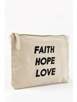 """""""Faith Hope Love"""" make up bag"""