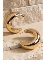 Metal irregular tube hoop post dangle earrings