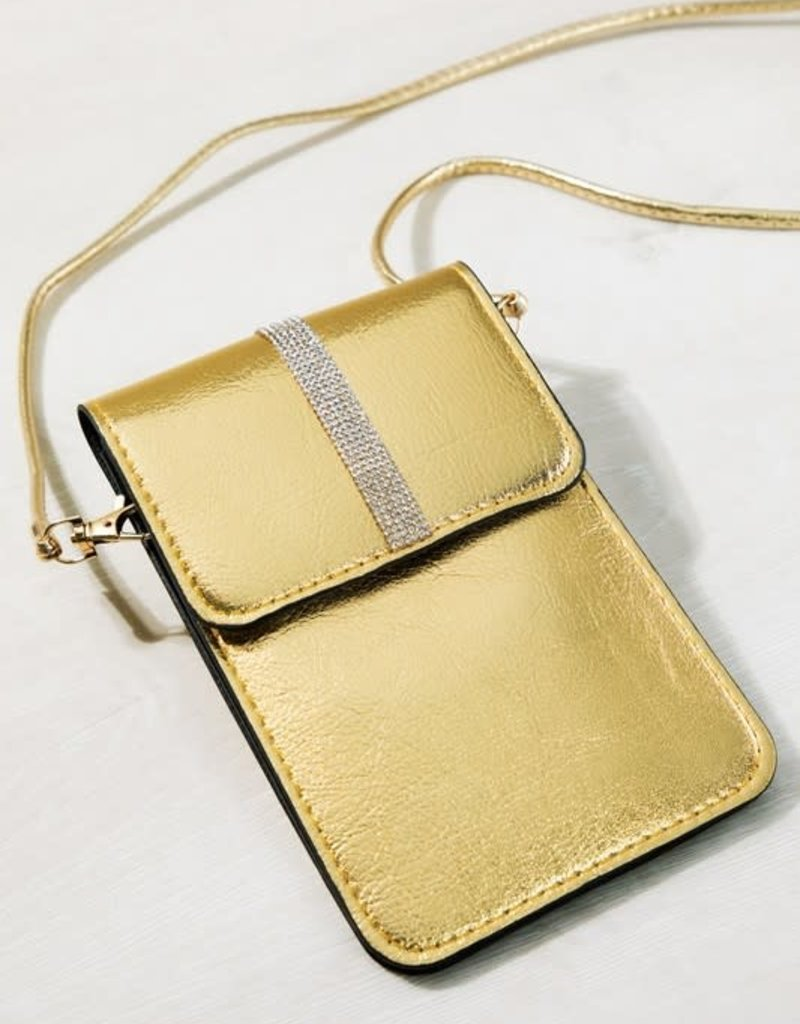 urbanista Faux leather metallic crystal cellphone cross body