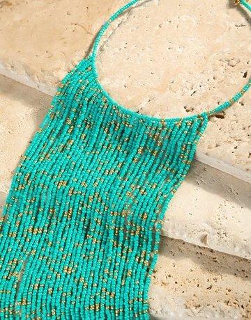 urbanista Seed bead long waterfall choker necklace
