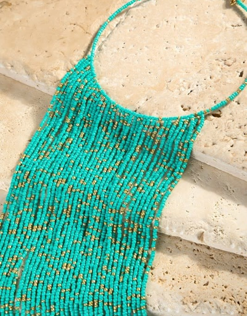 urbanista Seed bead long waterfall choker necklace