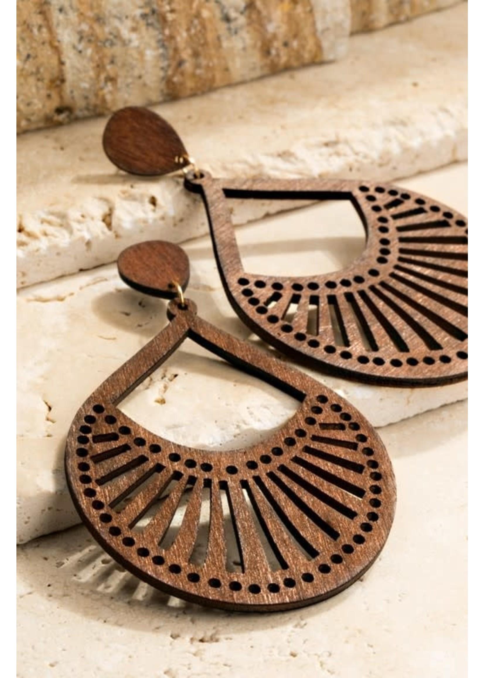 """urbanista Fine laser cut wood tear drop filigree dangle earrings APPROX. L 4"""""""
