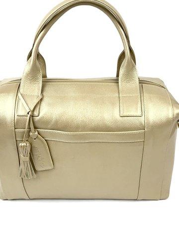 Genuine Leather Gold Shoulder Tote [P. Sherrod]