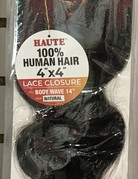 """4x4 Body Wave 14"""" Bleached Knot Lace Closure"""