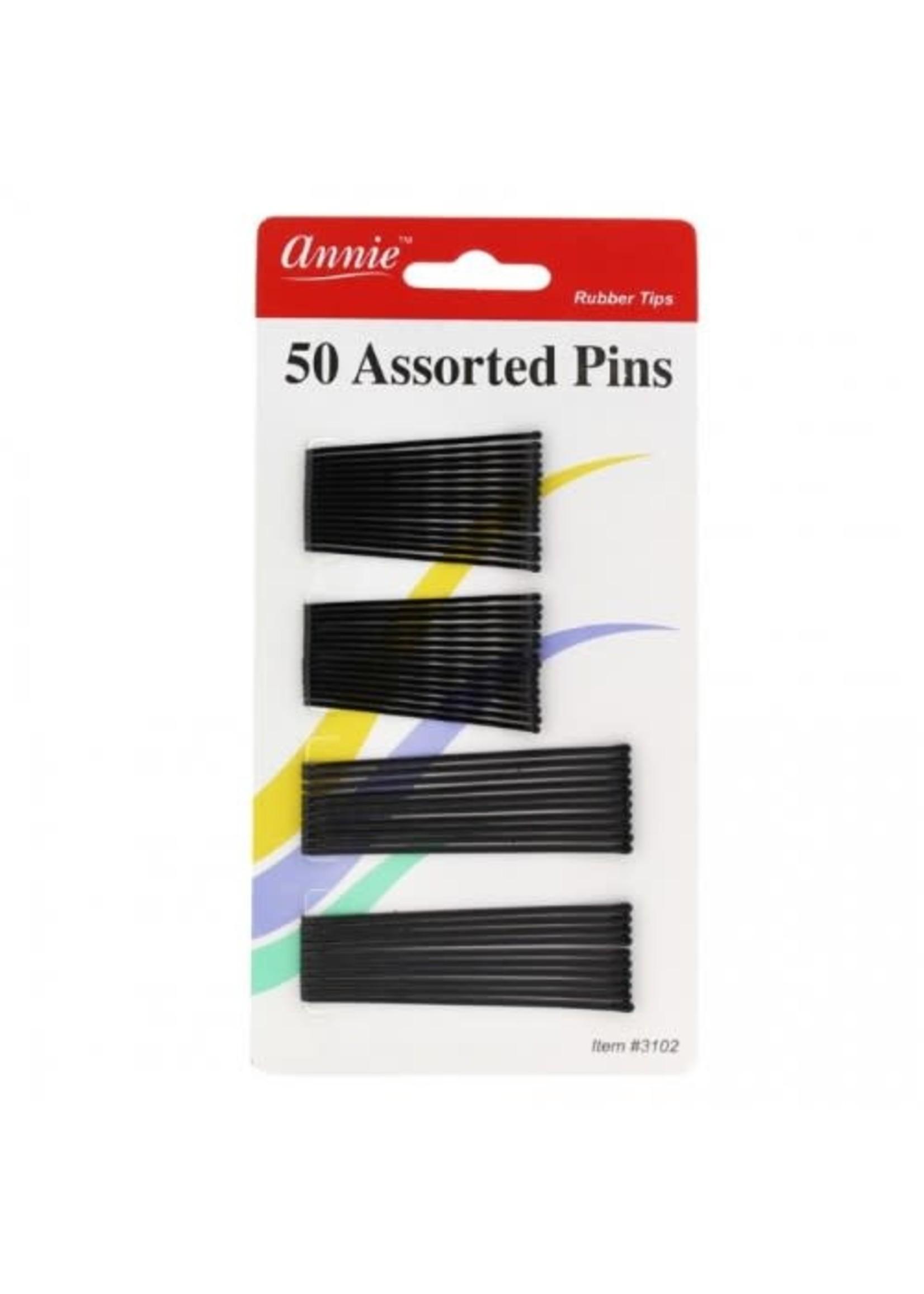 Annie bob pins black assorted 50ct