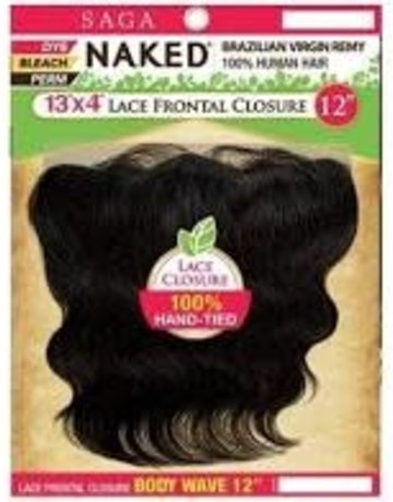 U/P NAKED 13X4 LACE FRONTAL BODY WAVE 12""