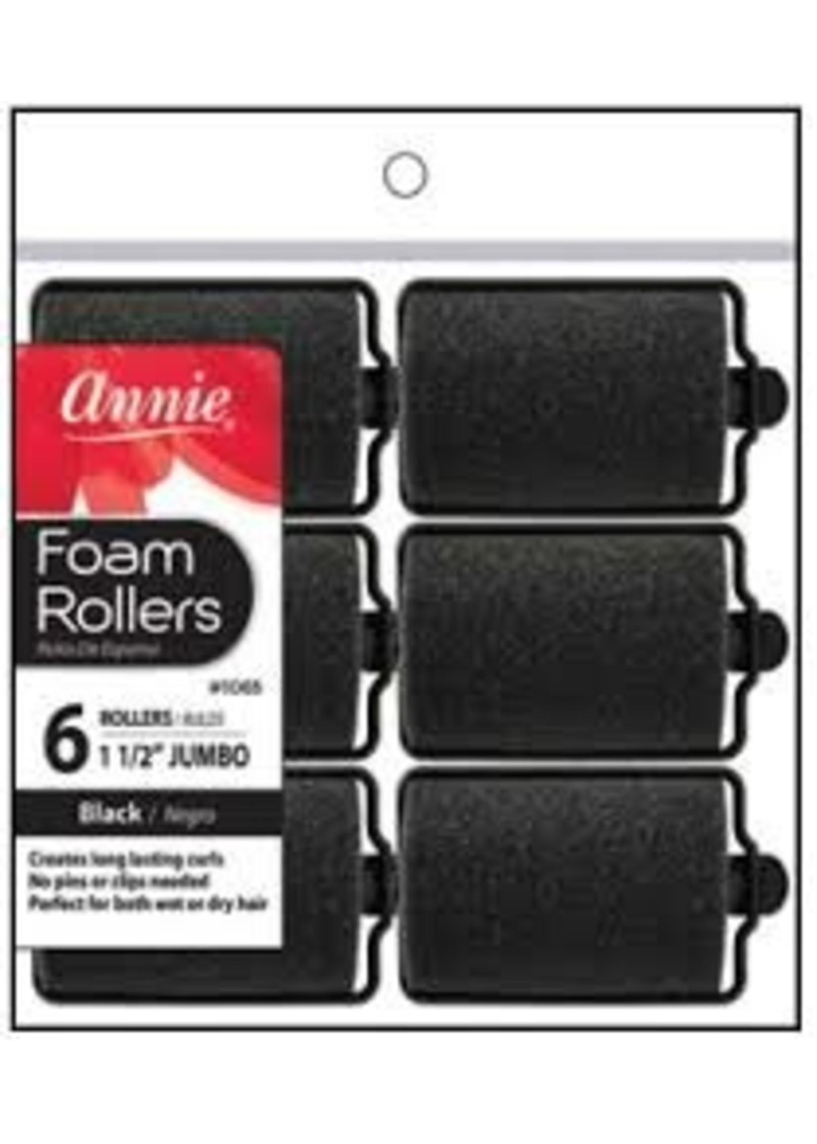 Annie Rollers Foam Black JB 6ct